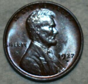 Brilliant Uncirculated 1927-D Lincoln Cent, Razor-sharp, blazing specimen.
