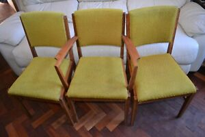 Russell Broadway set of 6 mid century retro vintage chairs pea green upholstery