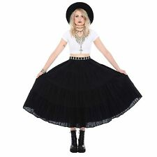 Vtg 90s Black WITCHY High-Waist Full Circle Midi Skirt Cotton Goth Grunge Gypsy