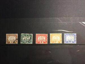 Hong Kong 1923 Postage Due Set, Upright Watermark, F-VF Used SG# D1/5, CV £35