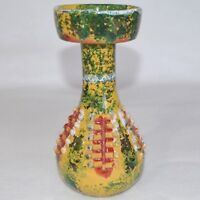 VTG Italy Art Pottery Candlstick Candle Holder Primitive Brutalist Modern Yellow
