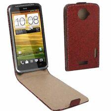 Flip Tasche Glitzer Style für HTC One X in rot Etui Case Hülle Schutzhülle