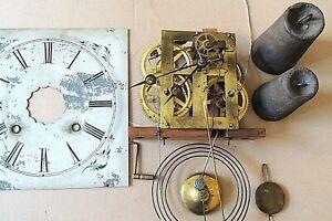 Uhr Amerikaner - Wanduhr , Ersatzteil Werk Uhrwerk mit Gewichten und Pendel ca.