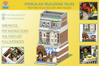 LEGO Modular Building Motorcycle Dealer and House 16x32 MOC instructions manuals