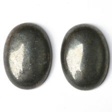 2 x Pale Gold Pyrite Flat Back 13 x 18mm Oval 5.5mm Thick Cabochon GS18578-4