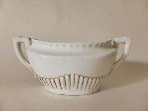 Antique Staffordshire China Sugar Bowl, Classic White and Gold, Kitchen Decor