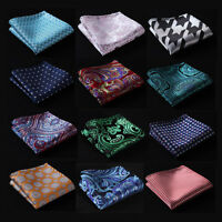 FE Paisley Floral Handkerchief Mens Silk Pocket Square Hanky Wedding Party Blue