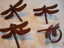 Set of (4) Rustic~Detailed~Cast Metal Dragonfly Napkin Rings~Excellent condition
