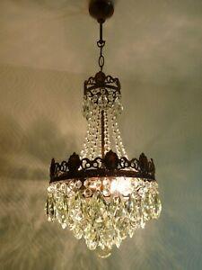 Vintage Brass and Crystal Basket Chandelier / Lamp