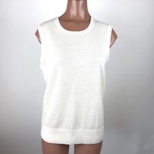 Pendleton Sleeveless Cardigan Sweater Vest Ivory Merino Wool Women's Medium