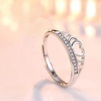925 Sterling Silver Adjustable Tiara Love Women Ring