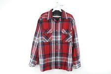 Vtg 80s Streetwear Mens Large Double Pocket Long Sleeve Flannel Board Shirt Red