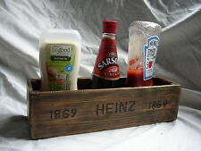 Antiqued Solid Wooden Condiment holder with branded name.Made in the UK.