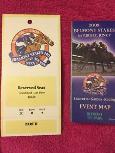 2008 BELMONT STAKES SEAT TICKET AND MINT EVENT MAP