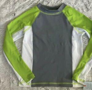 NWT Boys Swimshirt Rash Guard Size XL (16) Cat and Jack Gray Swim Shirt UPF 50