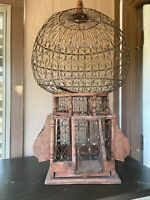 Original Antique Wood And Wire Victorian Balloon Top Bird Cage
