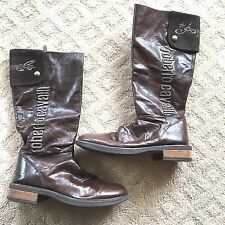 Italy ROBERTO CAVALLI Angels Girls Boots tall brown 36 6  LEATHER bling girls