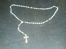 AJ-002 Vintage Catholic Rosary with Crucifix and White Glass Heart Shaped Beads