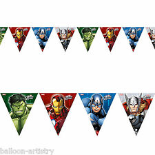 Marvel's AVENGERS HEROES Children's Party Paper Pennant Flag Banner Decoration