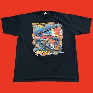 Vintage World of Outlaws Sprint Car Mens Shirt 3XL XXL 25th Steve Kinser 2003