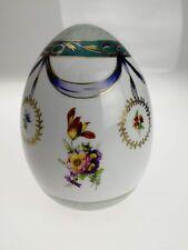 Oeuf ancien en porcelaine XIXème peint à la main dorure