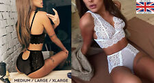Sexy Lace Bra and  High Waist Knicker Lingerie Set. See Through Various Sizes