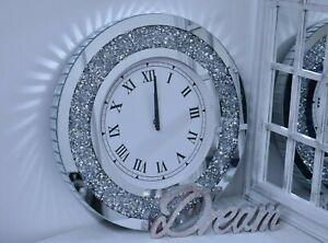 Large Round Crushed Mirror Jewel wall clock roman number diamante glass 50x50cm