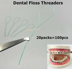 100x Dental Floss Threader  For Oral Care Interdental Teeth Clean Flosser Holder