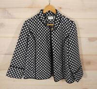 NWT Chicos 1 Women's M Black White Plush Jacket Polka-Dot MSRP $139 Pockets