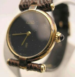 Ladies Vintage  must de Cartier Paris Vermeil Quartz Swiss Watch w Gucci Band