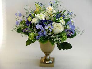 Strauß Blumen Seidenblumen Hyazinthe Anemonen Rose Terzetten blau weiß