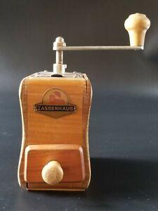 Vintage Zassenhaus German Wood Coffee Mill Grinder, Red Lion Label