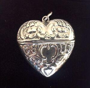 Sterling Silver Heart Chatelaine Perfume Vinaigrette Vesta case pill Locket