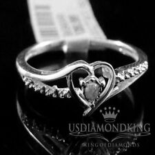 Ladies Women's .02ct Genuine Real Diamond White Gold Finish Heart Promise Ring