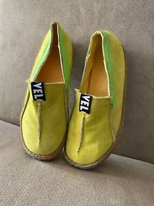 Womens VELO Neon Yellow & Green Vegan-Suede Loafers Flats Shoes SIZE 39 US 8-8.5