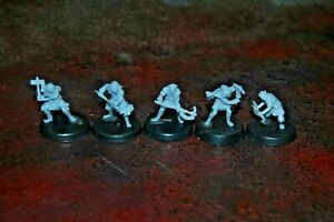 28 mm Scale unpainted Cave Goblins w double axe x 5 LOTR Compatible Davale Games
