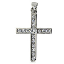 925 STERLING SILVER CZ CROSS PENDANT SQUARE CUBIC ZIRCONIA CRUCIFIX ROSARY