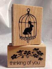 Hampton Art Kolette Hall Bunny rabbit in bird Cage Silhouette Rubber Stamp Rare