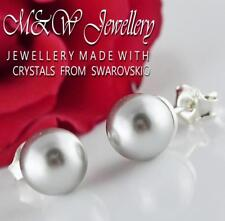925 Sterling Silver Stud Earrings Crystals From Swarovski® PEARL Light Grey 8mm