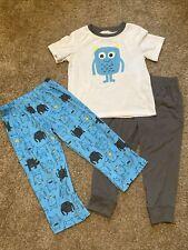 Carters Toddler Boys 3 Piece Pajamas Pants Shirt 4T Monster Google Eyes Set