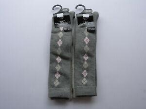 Ladies 4 pairs Grey Argyle Knee Socks Deal Offer Plain Christmas Autumn Comfy