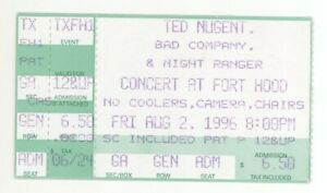 COOL Ted Nugent Bad Company Night Ranger 8/2/96 Ft Hood TX Ticket Stub! Co