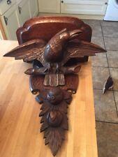 Fabulous Large Antique Black Forest Carved Clock Wall Bracket Shelf Eagle