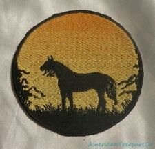 Embroidered Horse Pony Sunset Silhouette Ombre Circle Patch Iron On Sew On USA