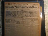 Shriners History Newspaper 1914 ATLANTA SPECTULAR NIGHT PARADE + MEXICO WAR