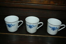 Set of Three TEA CUPS Blue Flowers FINE CHINA ESCHENBACH BAVARIA GERMANY