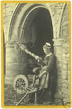 French Postcard - Woman Spinning Wool - Spinning Wheel