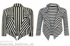 NEW WOMEN'S MONOCHROME VERTICAL STRIPE 3/4 SLEEVE LADIES CROP BLAZER SIZE SM/ML