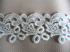 4.5y Beautiful Vintage Rayon Venise White Lace Trim Swirl Baby 717a