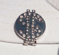 Dollar Sign Golf Ball Marker with Crystals and Magnetic Hat Clip